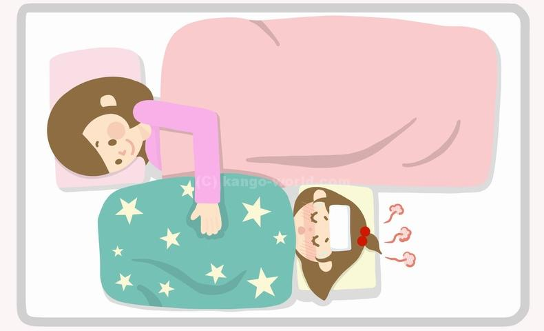 一緒の部屋で寝る時は付き添い者は逆向きで寝る